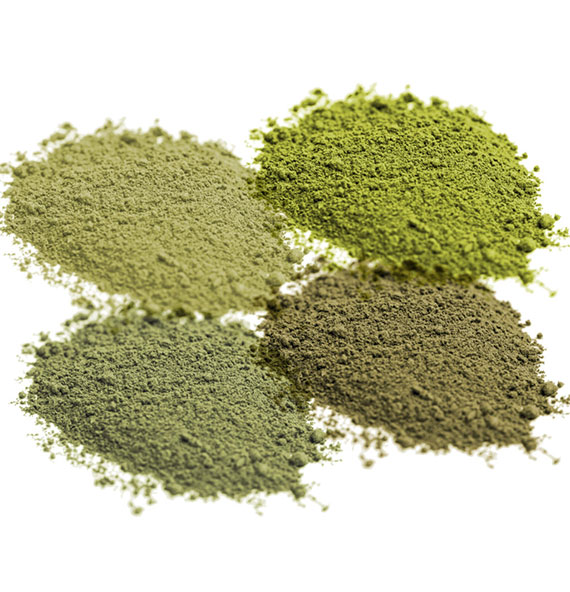 Red, green, white, yellow kratom powder